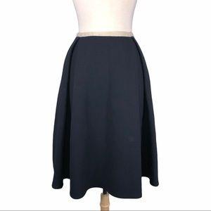 Orla Kiely Blue Pleated Wool Skirt White Trim